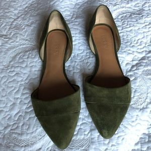 Jcrew Olive Suede Flats